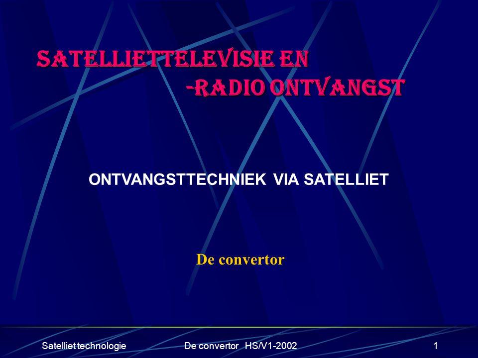 Satelliet technologieDe convertor HS/V1-20021 SATELLIETTELEVISIE EN -RADIO ONTVANGST -RADIO ONTVANGST ONTVANGSTTECHNIEK VIA SATELLIET De convertor