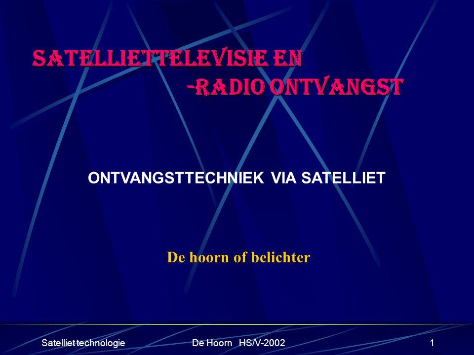 Satelliet technologieDe Hoorn HS/V-20021 SATELLIETTELEVISIE EN -RADIO ONTVANGST -RADIO ONTVANGST ONTVANGSTTECHNIEK VIA SATELLIET De hoorn of belichter