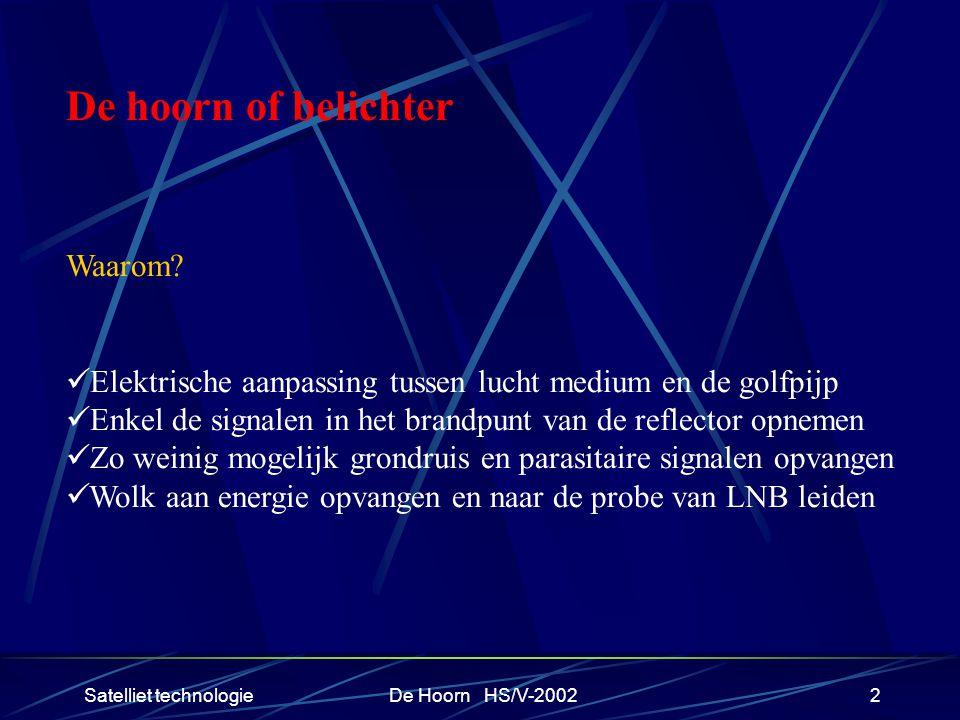 Satelliet technologieDe Hoorn HS/V-20022 De hoorn of belichter Waarom.