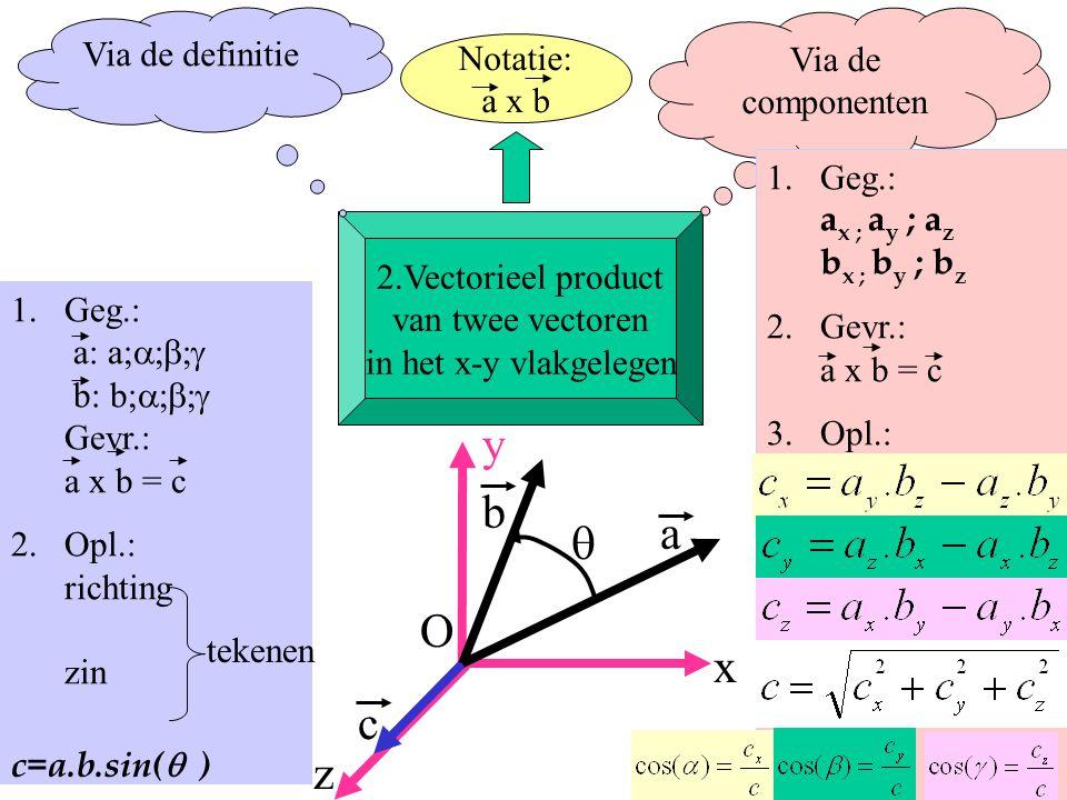 8 1.Geg.: a: a;  b: b;  Gevr.: a x b = c 2.Opl.: richting zin a y b O x z  c c=a.b.sin(  ) tekenen 2.Vectorieel product van twee vectoren