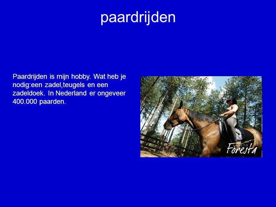 paardrijden Paardrijden is mijn hobby. Wat heb je nodig:een zadel,teugels en een zadeldoek. In Nederland er ongeveer 400.000 paarden.