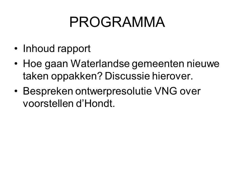 PROGRAMMA Inhoud rapport Hoe gaan Waterlandse gemeenten nieuwe taken oppakken.