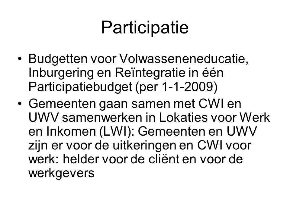 Participatie Budgetten voor Volwasseneneducatie, Inburgering en Reïntegratie in één Participatiebudget (per 1-1-2009) Gemeenten gaan samen met CWI en UWV samenwerken in Lokaties voor Werk en Inkomen (LWI): Gemeenten en UWV zijn er voor de uitkeringen en CWI voor werk: helder voor de cliënt en voor de werkgevers