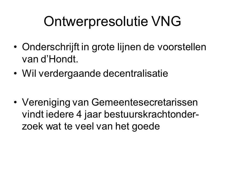 Ontwerpresolutie VNG Onderschrijft in grote lijnen de voorstellen van d'Hondt.