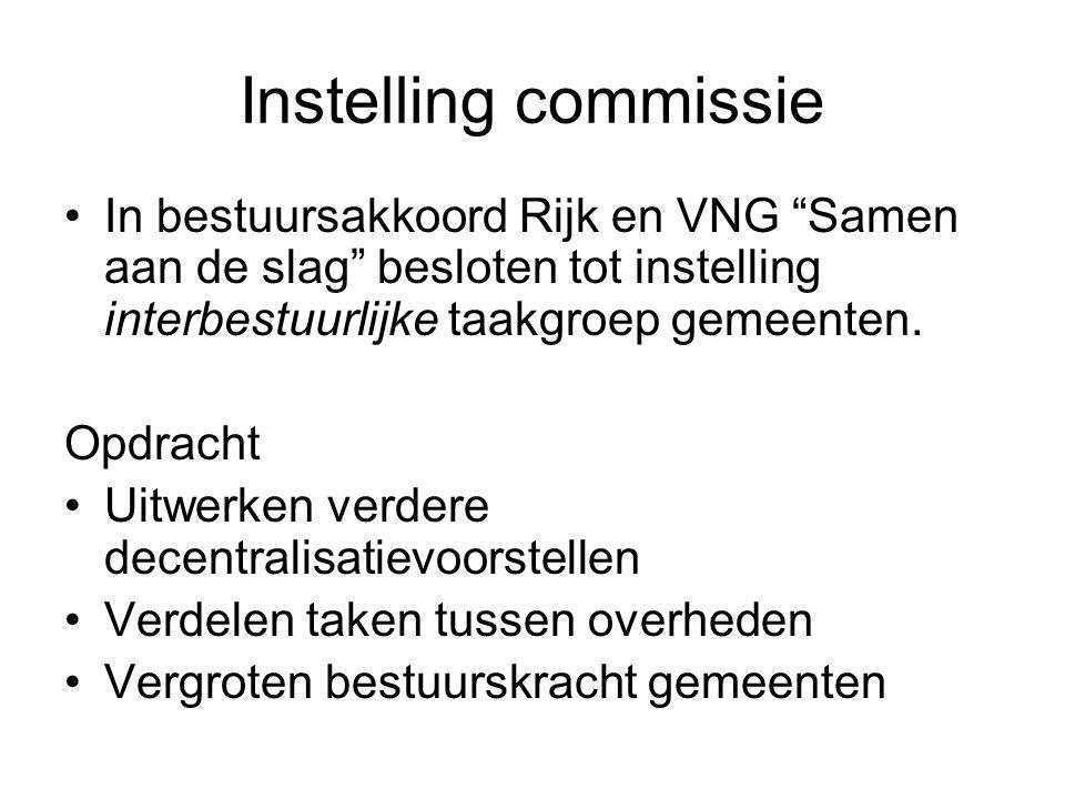 Instelling commissie In bestuursakkoord Rijk en VNG Samen aan de slag besloten tot instelling interbestuurlijke taakgroep gemeenten.