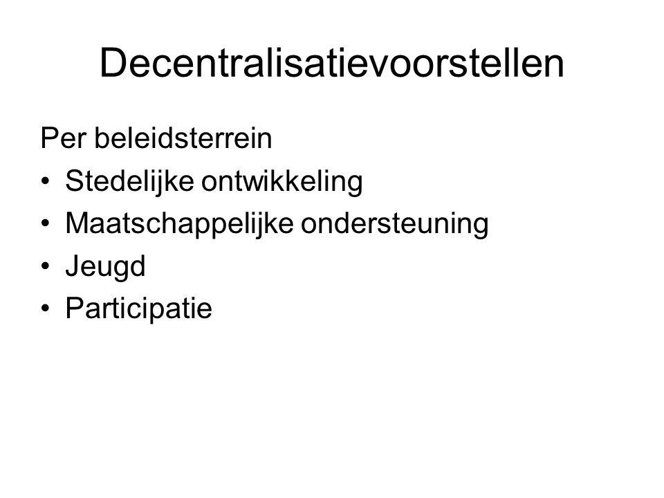 Decentralisatievoorstellen Per beleidsterrein Stedelijke ontwikkeling Maatschappelijke ondersteuning Jeugd Participatie