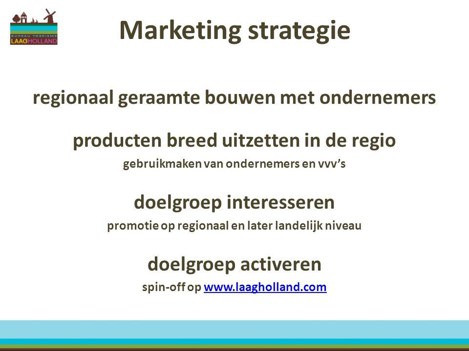 Marketing strategie regionaal geraamte bouwen met ondernemers producten breed uitzetten in de regio gebruikmaken van ondernemers en vvv's doelgroep in