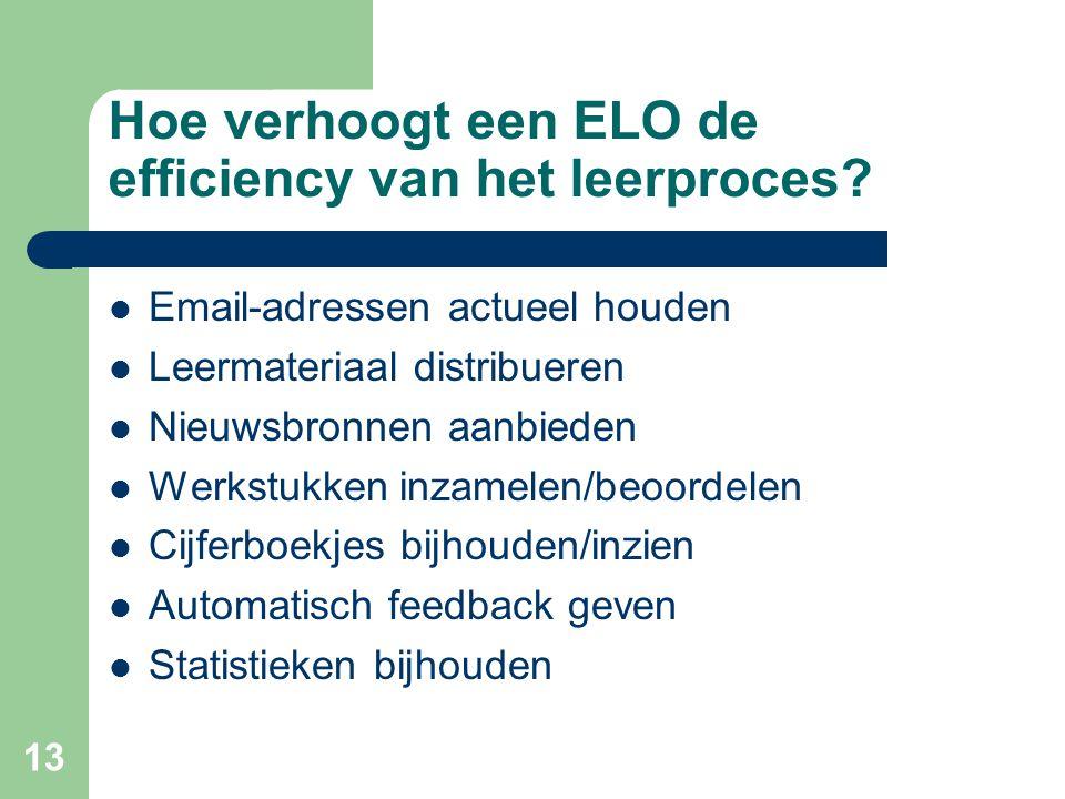13 Hoe verhoogt een ELO de efficiency van het leerproces? Email-adressen actueel houden Leermateriaal distribueren Nieuwsbronnen aanbieden Werkstukken