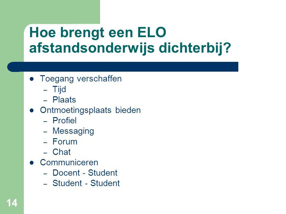 14 Hoe brengt een ELO afstandsonderwijs dichterbij? Toegang verschaffen – Tijd – Plaats Ontmoetingsplaats bieden – Profiel – Messaging – Forum – Chat
