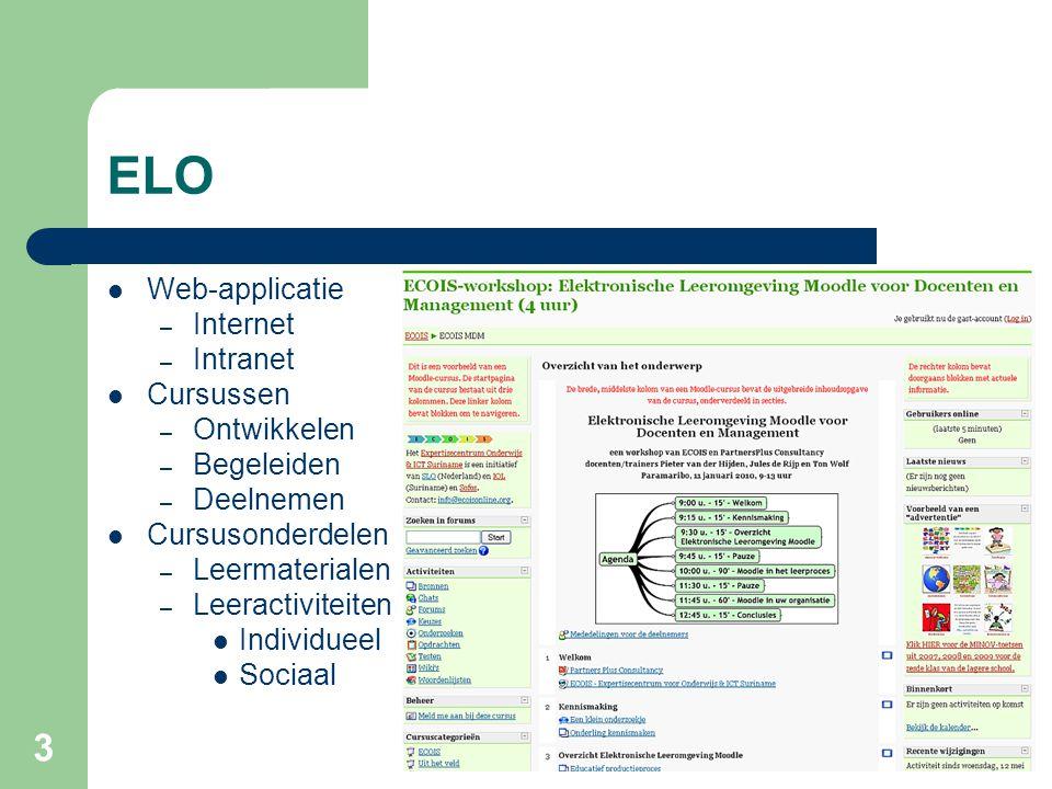 3 ELO Web-applicatie – Internet – Intranet Cursussen – Ontwikkelen – Begeleiden – Deelnemen Cursusonderdelen – Leermaterialen – Leeractiviteiten Individueel Sociaal