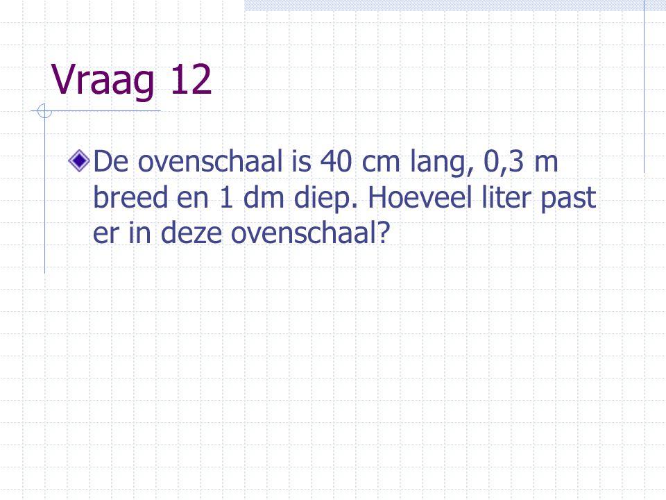 Vraag 12 De ovenschaal is 40 cm lang, 0,3 m breed en 1 dm diep. Hoeveel liter past er in deze ovenschaal?