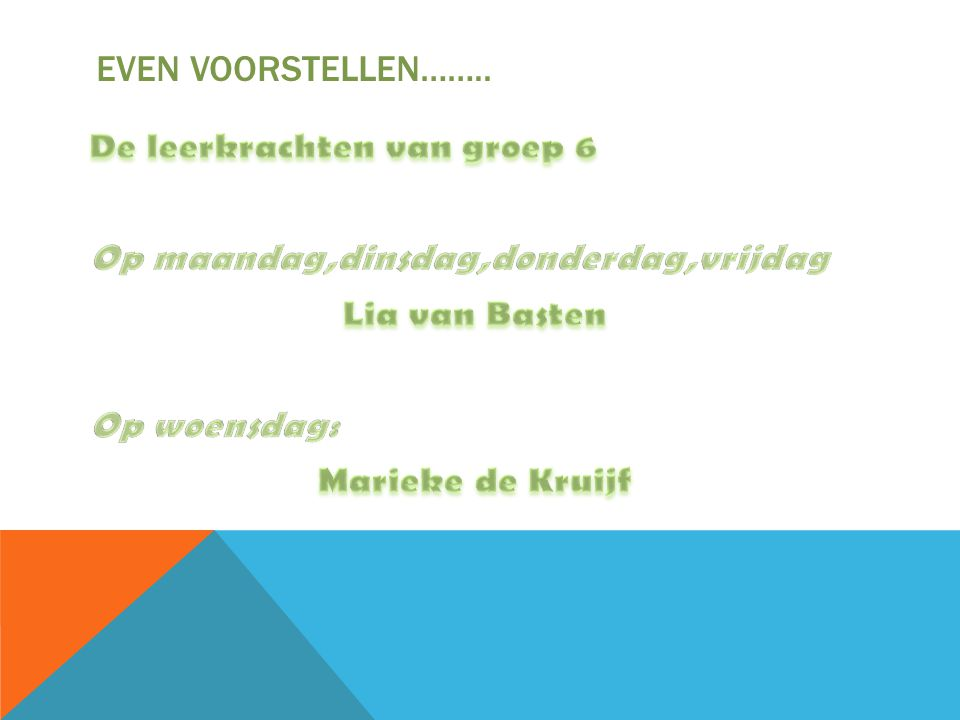 EVEN VOORSTELLEN……..