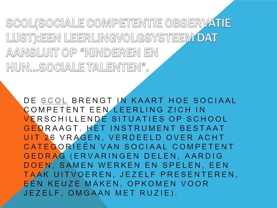 DE SCOL BRENGT IN KAART HOE SOCIAAL COMPETENT EEN LEERLING ZICH IN VERSCHILLENDE SITUATIES OP SCHOOL GEDRAAGT.