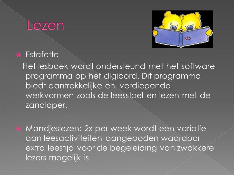 Estafette Het lesboek wordt ondersteund met het software programma op het digibord.