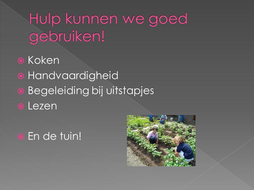  Koken  Handvaardigheid  Begeleiding bij uitstapjes  Lezen  En de tuin!