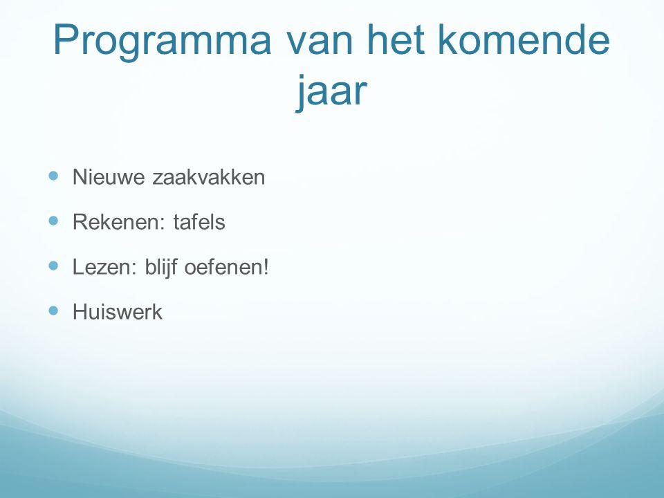 Programma van het komende jaar Nieuwe zaakvakken Rekenen: tafels Lezen: blijf oefenen! Huiswerk