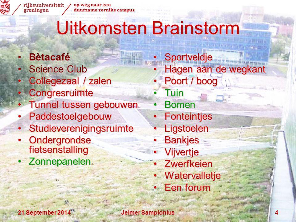 op weg naar een duurzame zernike campus 21 September 201421 September 201421 September 2014Jelmer Samplonius4 Uitkomsten Brainstorm BètacaféBètacafé S
