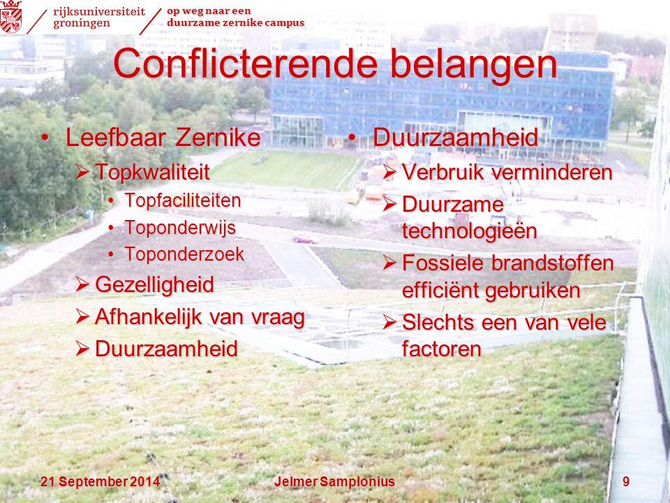 op weg naar een duurzame zernike campus 21 September 201421 September 201421 September 2014Jelmer Samplonius9 Conflicterende belangen Leefbaar Zernike