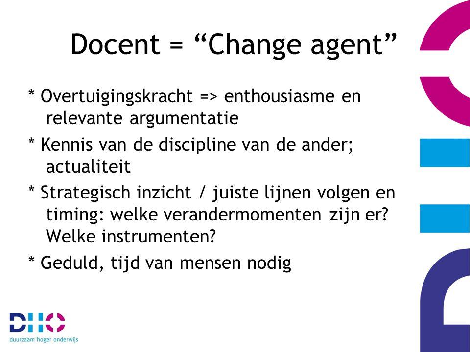 Docent = Change agent * Overtuigingskracht => enthousiasme en relevante argumentatie * Kennis van de discipline van de ander; actualiteit * Strategisch inzicht / juiste lijnen volgen en timing: welke verandermomenten zijn er.