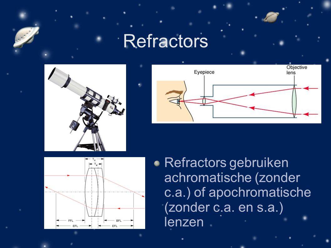Refractors Refractors gebruiken achromatische (zonder c.a.) of apochromatische (zonder c.a. en s.a.) lenzen