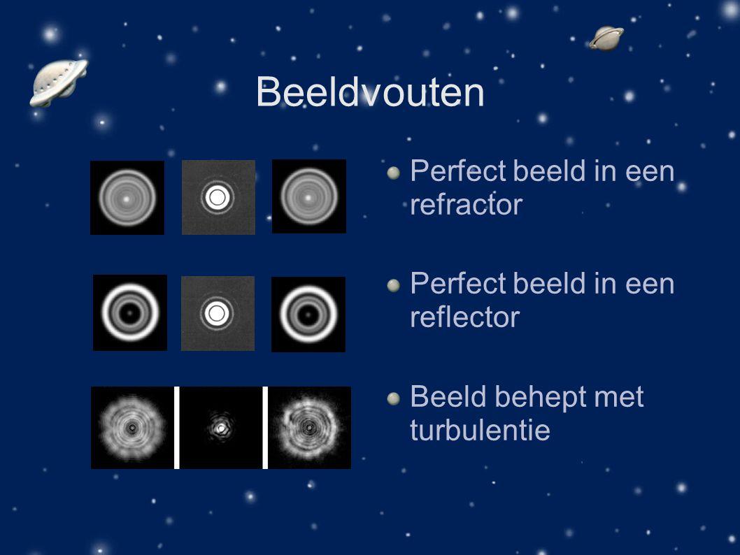 Beeldvouten Perfect beeld in een refractor Perfect beeld in een reflector Beeld behept met turbulentie