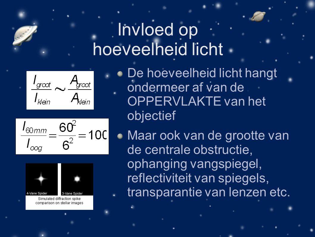 Invloed op hoeveelheid licht De hoeveelheid licht hangt ondermeer af van de OPPERVLAKTE van het objectief Maar ook van de grootte van de centrale obst