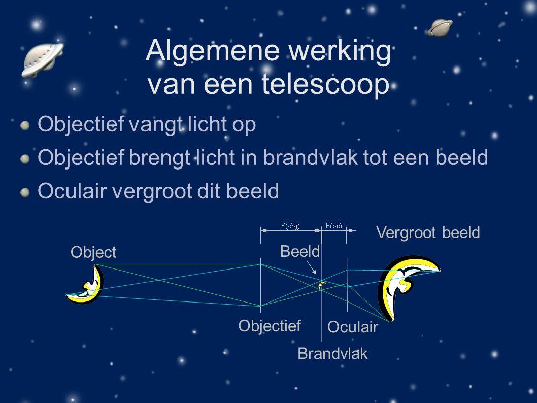 Algemene werking van een telescoop Objectief vangt licht op Objectief brengt licht in brandvlak tot een beeld Oculair vergroot dit beeld Objectief Obj