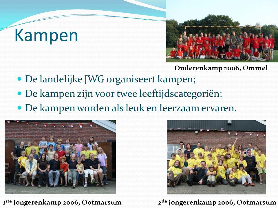 Kampen De landelijke JWG organiseert kampen; De kampen zijn voor twee leeftijdscategoriën; De kampen worden als leuk en leerzaam ervaren.