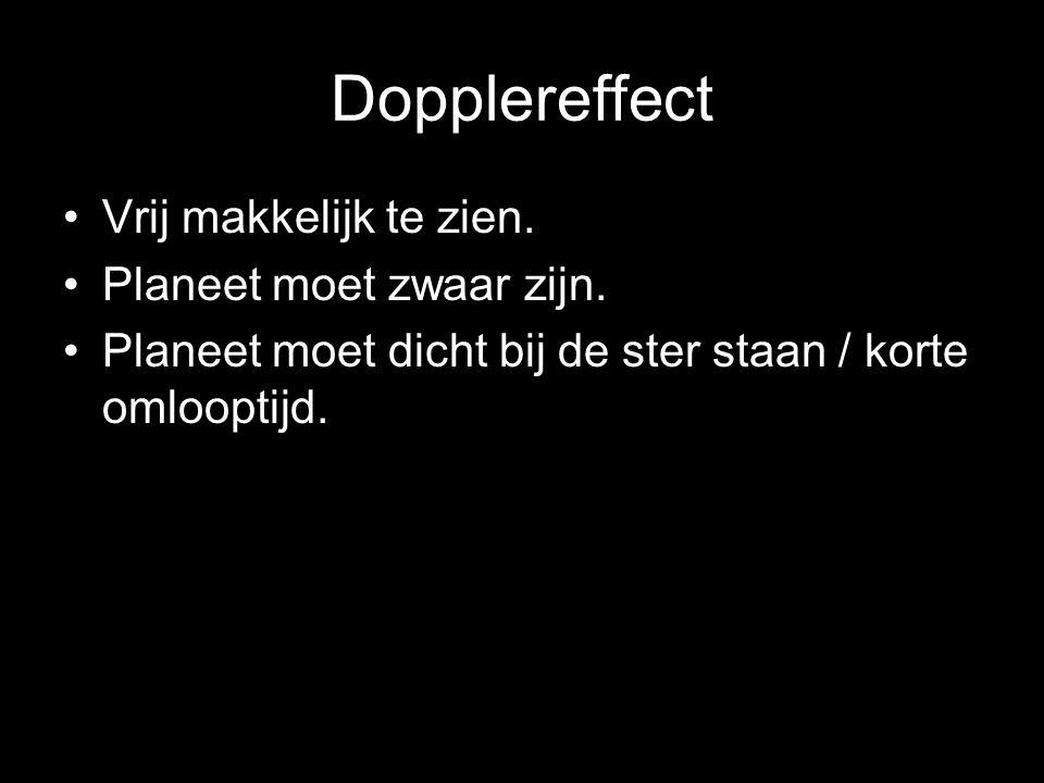 Dopplereffect Vrij makkelijk te zien. Planeet moet zwaar zijn. Planeet moet dicht bij de ster staan / korte omlooptijd.