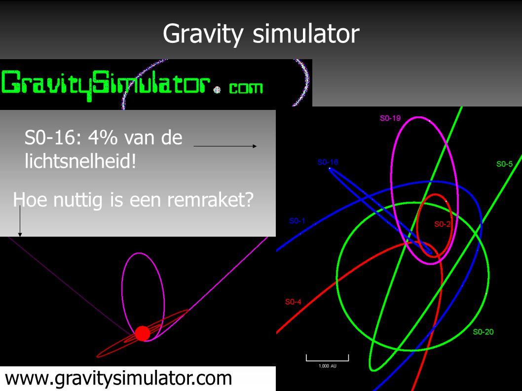 Gravity simulator www.gravitysimulator.com S0-16: 4% van de lichtsnelheid.