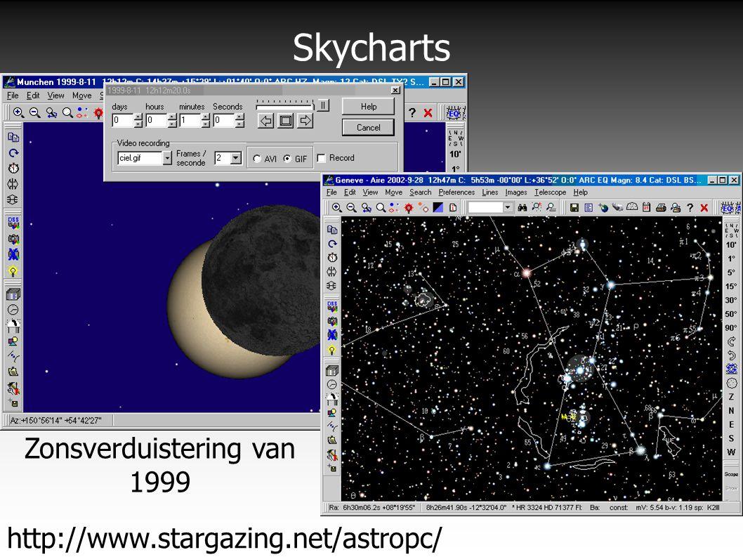 Skycharts http://www.stargazing.net/astropc/ Zonsverduistering van 1999