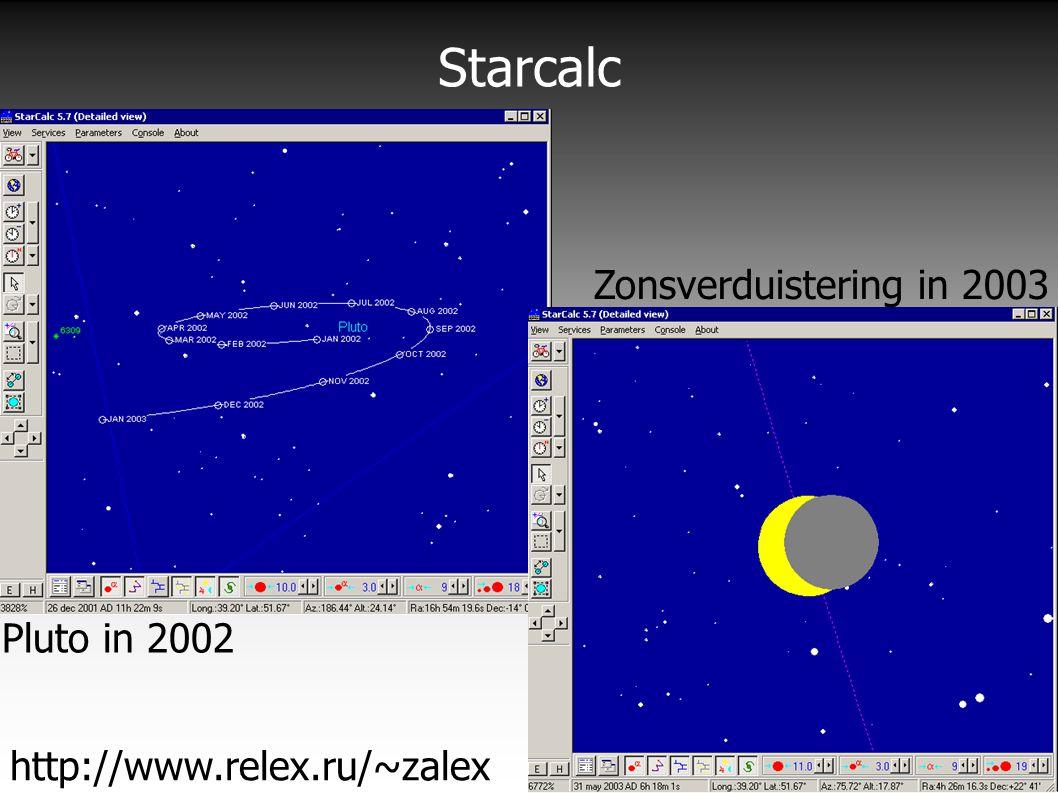 Starcalc http://www.relex.ru/~zalex Pluto in 2002 Zonsverduistering in 2003
