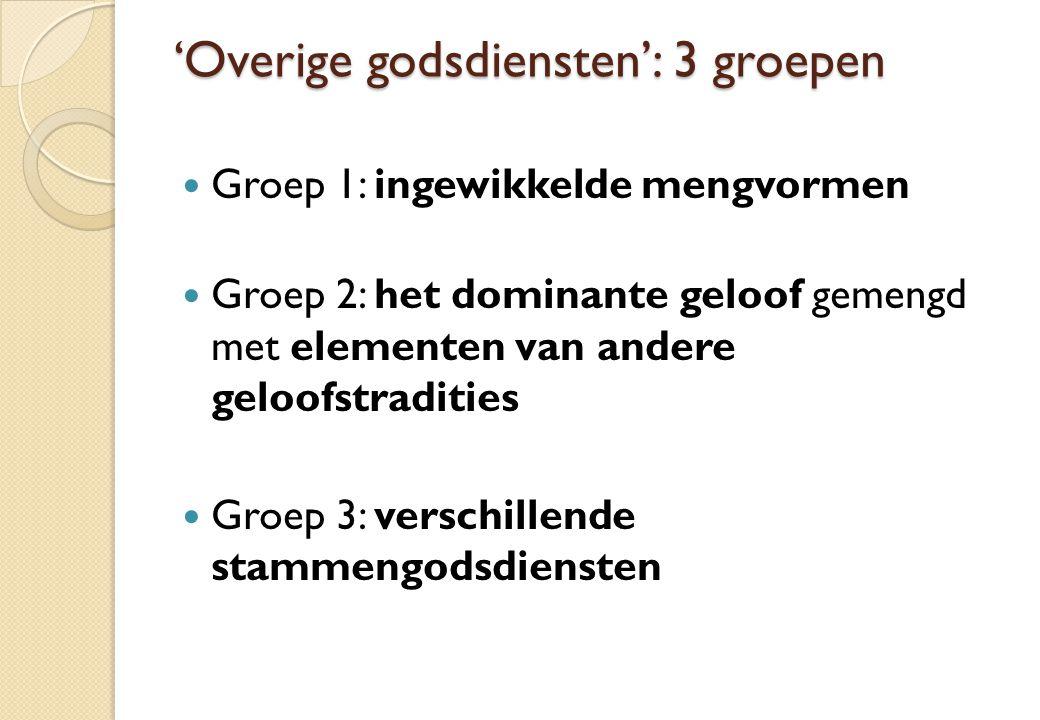 'Overige godsdiensten': 3 groepen Groep 1: ingewikkelde mengvormen Groep 2: het dominante geloof gemengd met elementen van andere geloofstradities Groep 3: verschillende stammengodsdiensten
