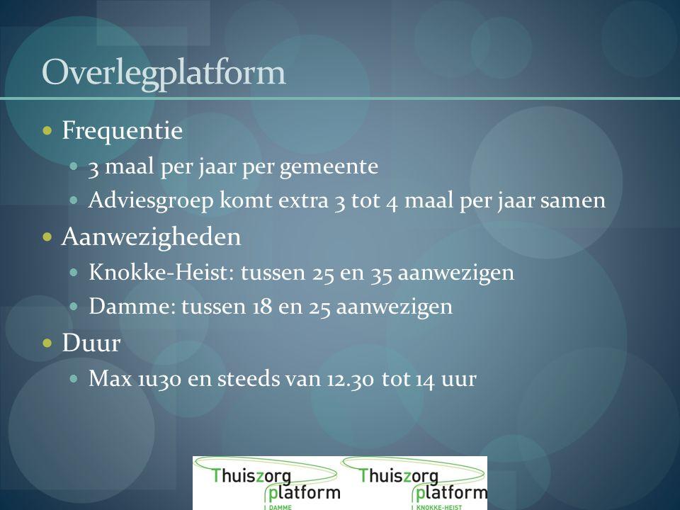 Overlegplatform Frequentie 3 maal per jaar per gemeente Adviesgroep komt extra 3 tot 4 maal per jaar samen Aanwezigheden Knokke-Heist: tussen 25 en 35 aanwezigen Damme: tussen 18 en 25 aanwezigen Duur Max 1u30 en steeds van 12.30 tot 14 uur