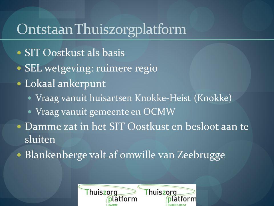 Ontstaan Thuiszorgplatform SIT Oostkust als basis SEL wetgeving: ruimere regio Lokaal ankerpunt Vraag vanuit huisartsen Knokke-Heist (Knokke) Vraag vanuit gemeente en OCMW Damme zat in het SIT Oostkust en besloot aan te sluiten Blankenberge valt af omwille van Zeebrugge