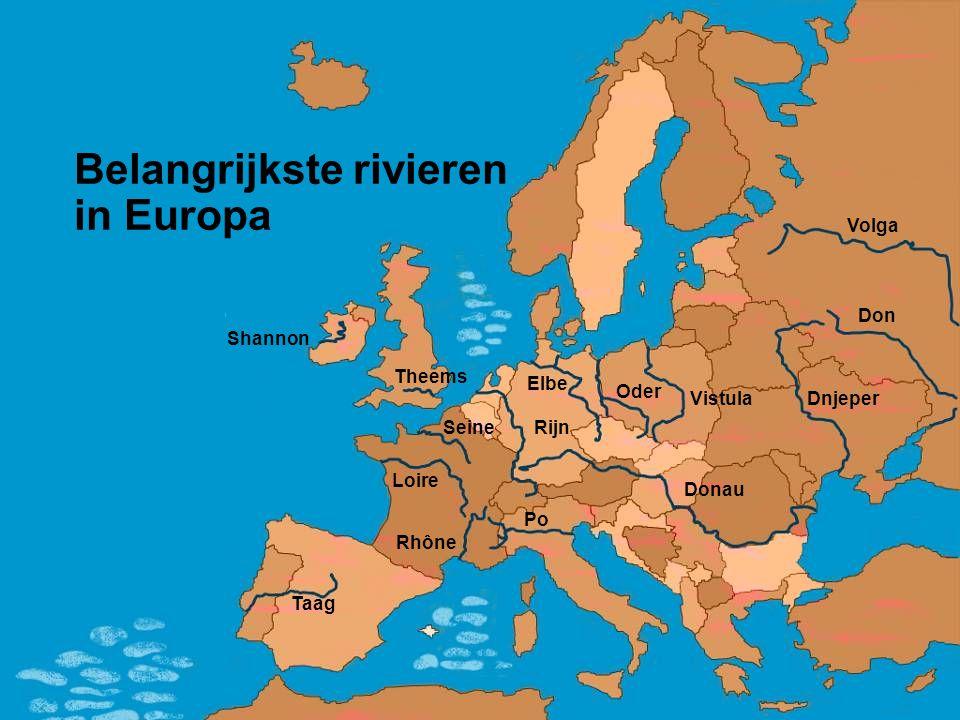 Belangrijkste rivieren in Europa Elbe Oder Vistula Volga Dnjeper Donau Po Rhône Taag Theems Shannon Seine Loire Rijn Don