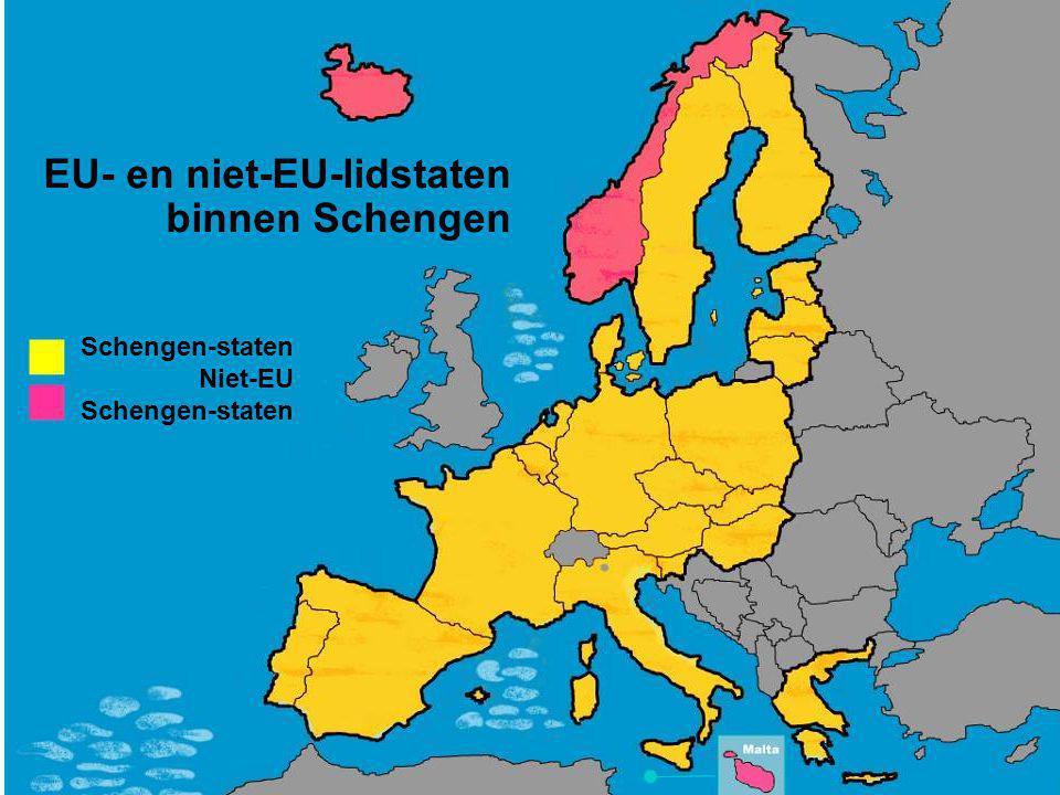 EU- en niet-EU-lidstaten binnen Schengen Schengen-staten Niet-EU Schengen-staten
