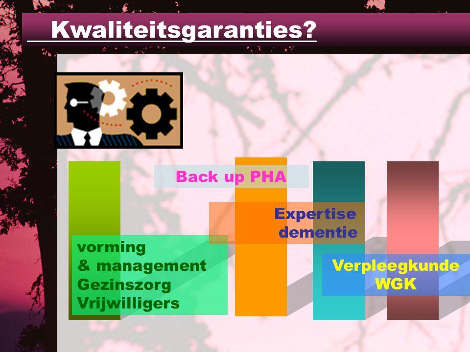 vorming & management Gezinszorg Vrijwilligers Back up PHA Expertise dementie Verpleegkunde WGK Kwaliteitsgaranties