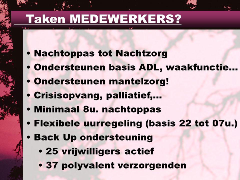 Nachtoppas tot Nachtzorg Ondersteunen basis ADL, waakfunctie… Ondersteunen mantelzorg.