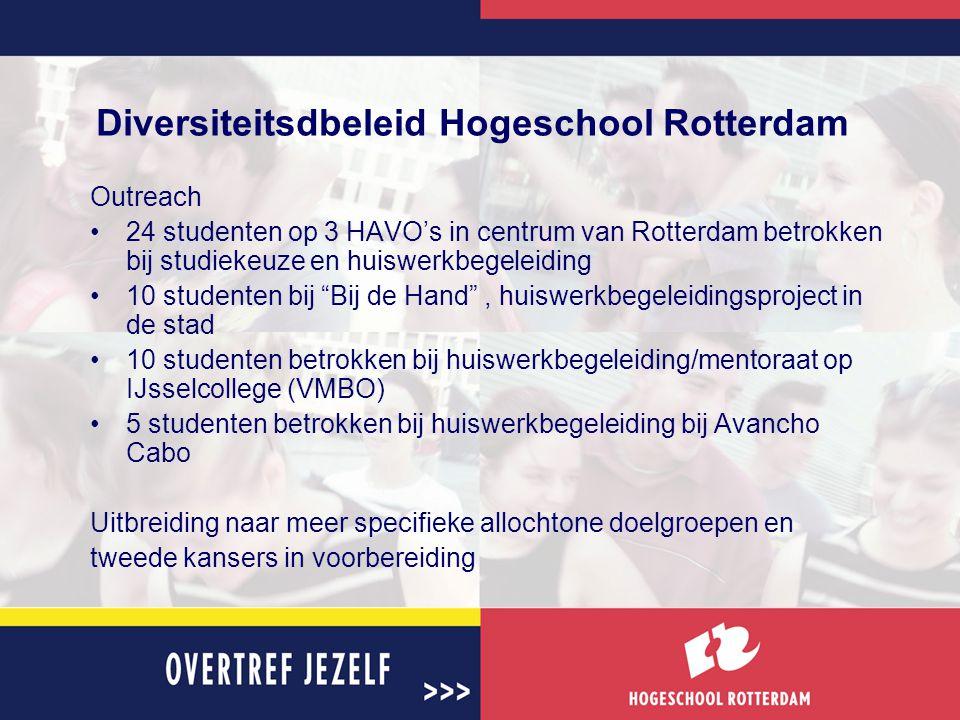 Diversiteitsdbeleid Hogeschool Rotterdam Outreach 24 studenten op 3 HAVO's in centrum van Rotterdam betrokken bij studiekeuze en huiswerkbegeleiding 10 studenten bij Bij de Hand , huiswerkbegeleidingsproject in de stad 10 studenten betrokken bij huiswerkbegeleiding/mentoraat op IJsselcollege (VMBO) 5 studenten betrokken bij huiswerkbegeleiding bij Avancho Cabo Uitbreiding naar meer specifieke allochtone doelgroepen en tweede kansers in voorbereiding