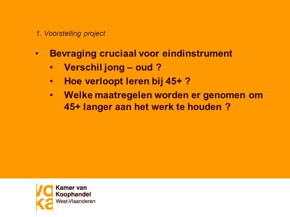 1. Voorstelling project Bevraging cruciaal voor eindinstrument Verschil jong – oud .