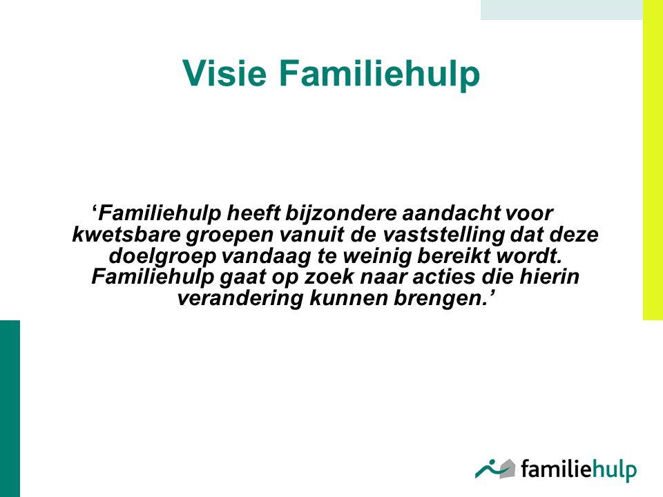 Visie Familiehulp 'Familiehulp heeft bijzondere aandacht voor kwetsbare groepen vanuit de vaststelling dat deze doelgroep vandaag te weinig bereikt wordt.