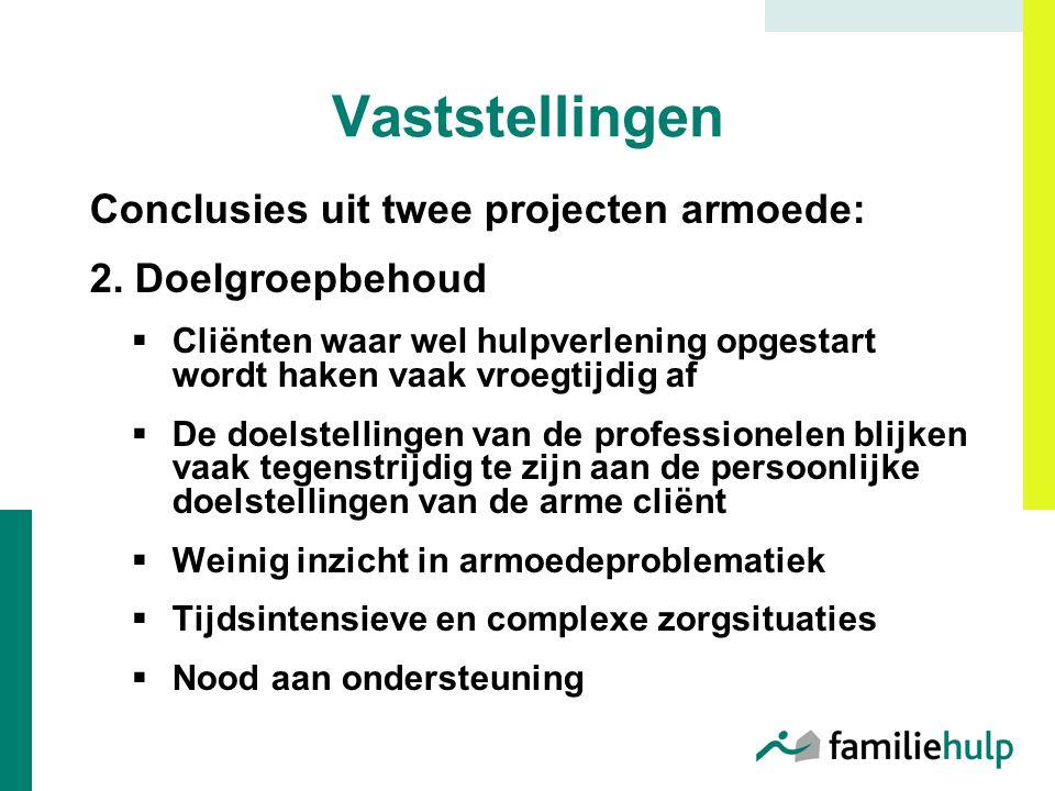 Vaststellingen Conclusies uit twee projecten armoede: 2.