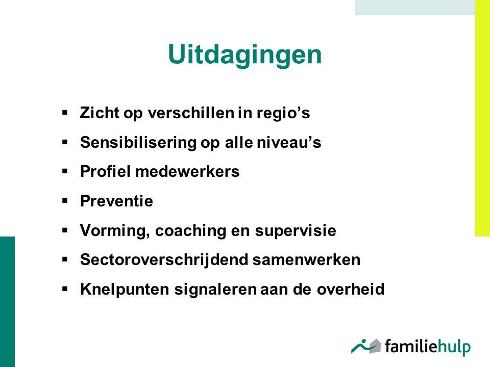 Uitdagingen  Zicht op verschillen in regio's  Sensibilisering op alle niveau's  Profiel medewerkers  Preventie  Vorming, coaching en supervisie 