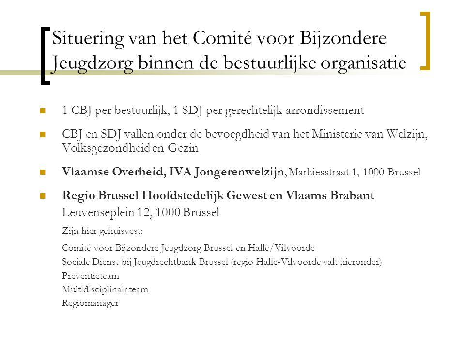 Situering van het Comité voor Bijzondere Jeugdzorg binnen de bestuurlijke organisatie 1 CBJ per bestuurlijk, 1 SDJ per gerechtelijk arrondissement CBJ