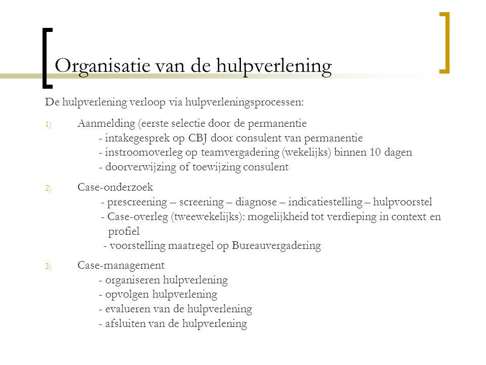 Organisatie van de hulpverlening De hulpverlening verloop via hulpverleningsprocessen: 1) Aanmelding (eerste selectie door de permanentie - intakegesp