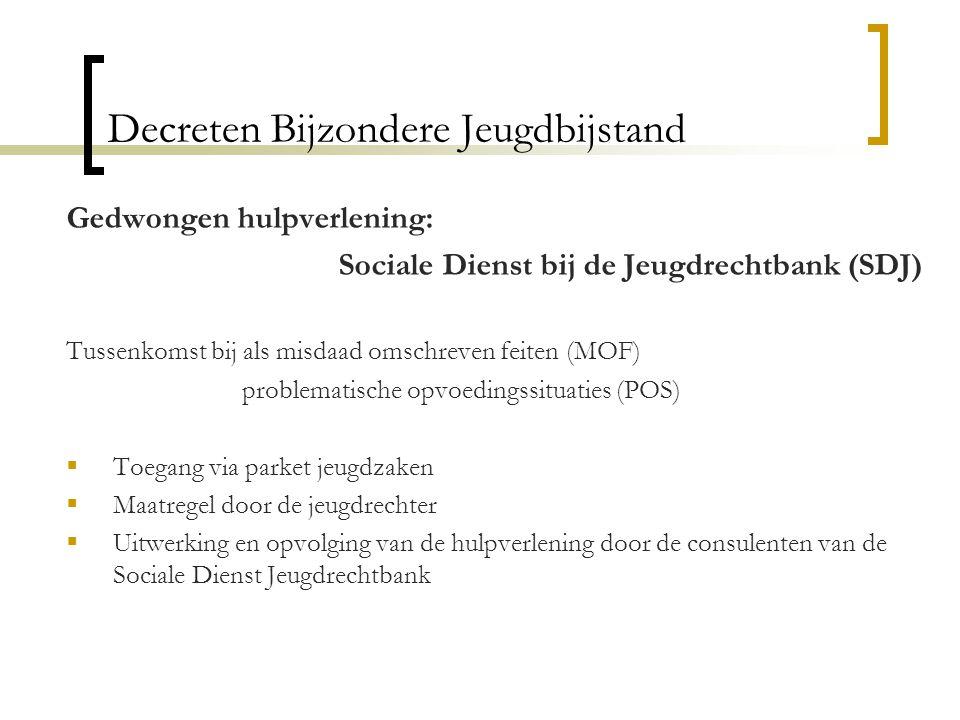 Decreten Bijzondere Jeugdbijstand Gedwongen hulpverlening: Sociale Dienst bij de Jeugdrechtbank (SDJ) Tussenkomst bij als misdaad omschreven feiten (M
