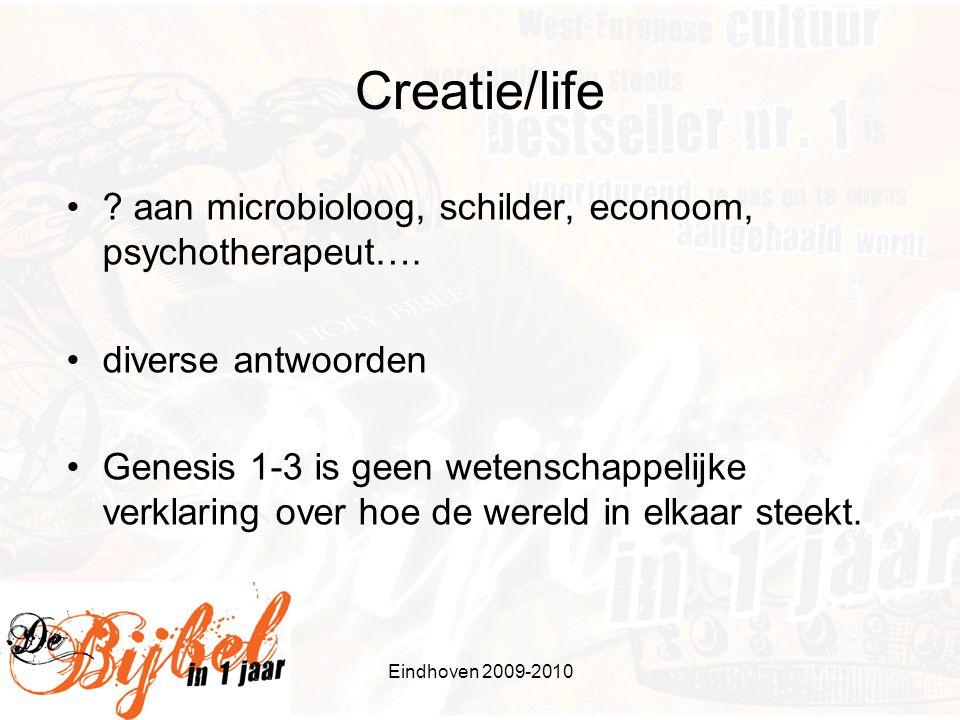 Eindhoven 2009-2010 Creatie/life . aan microbioloog, schilder, econoom, psychotherapeut….