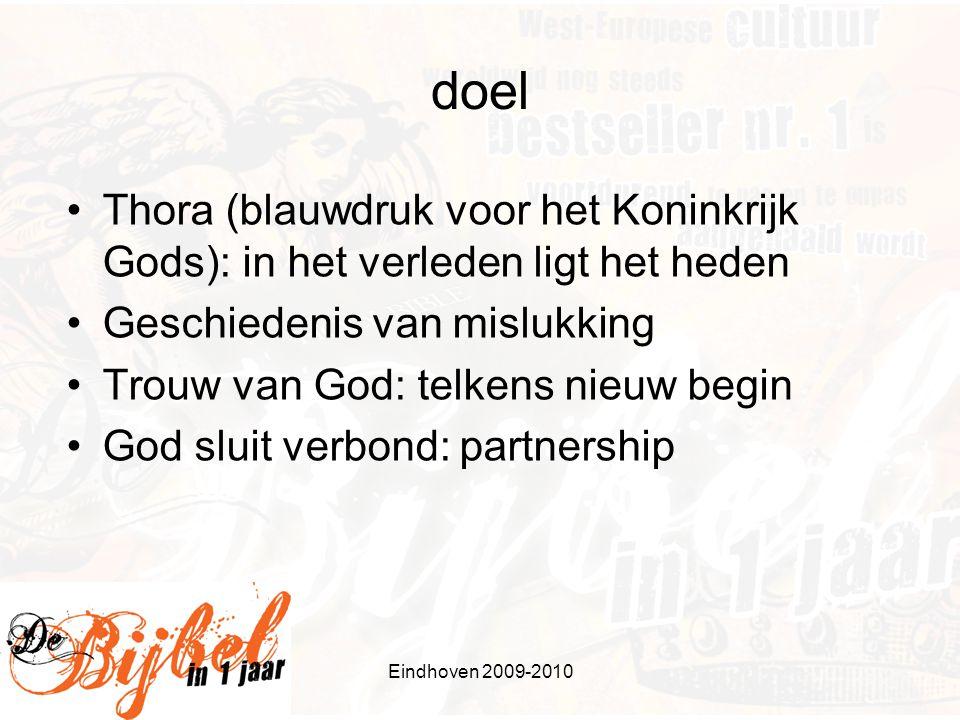Eindhoven 2009-2010 doel Thora (blauwdruk voor het Koninkrijk Gods): in het verleden ligt het heden Geschiedenis van mislukking Trouw van God: telkens nieuw begin God sluit verbond: partnership