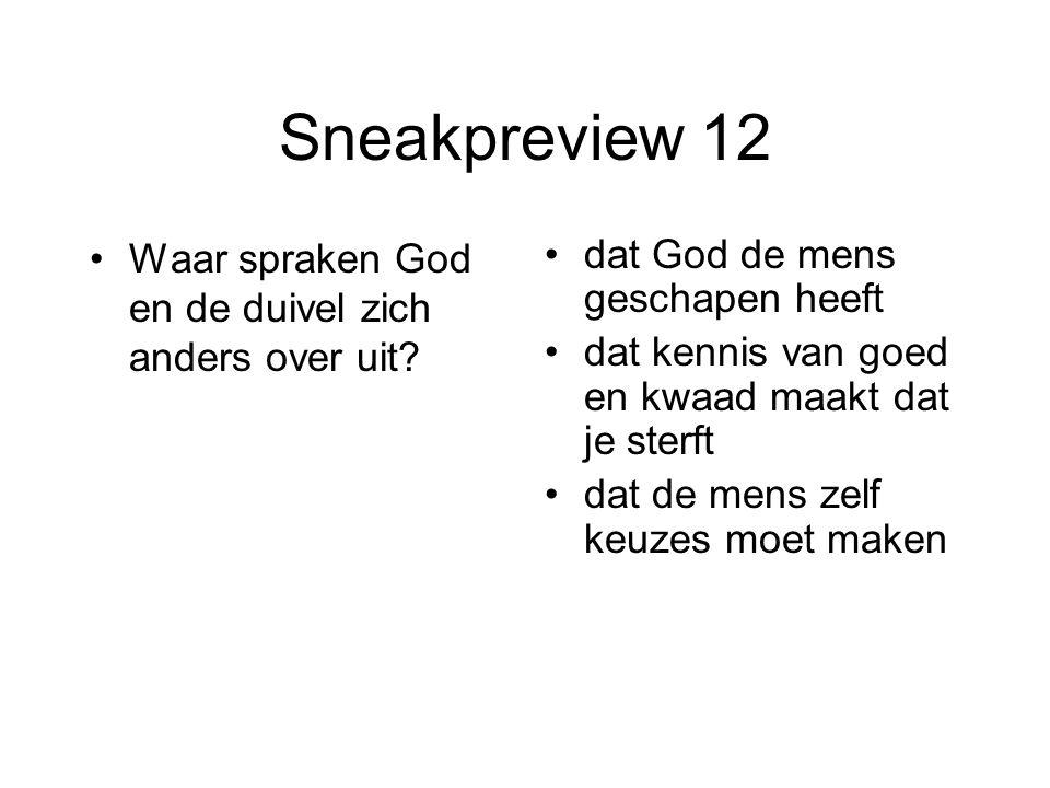 Sneakpreview 12 Waar spraken God en de duivel zich anders over uit? dat God de mens geschapen heeft dat kennis van goed en kwaad maakt dat je sterft d